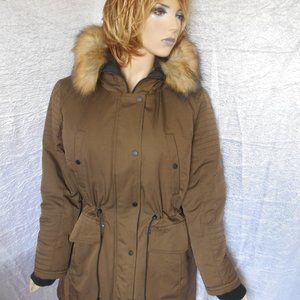 Nwt $250 BAR III Faux-Fur-Trim Hooded Puffer Coat